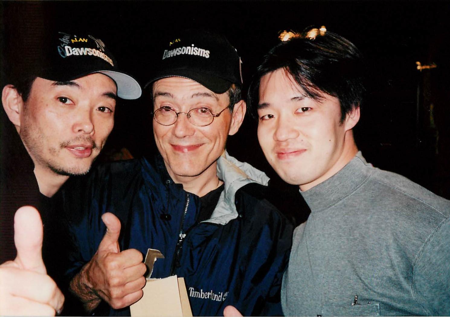 水野修身先生(左)、ヴィニー・カリウタ氏(中)、私(右)